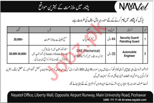 Nayatel Peshawar Jobs 2021 for Automobile Engineer