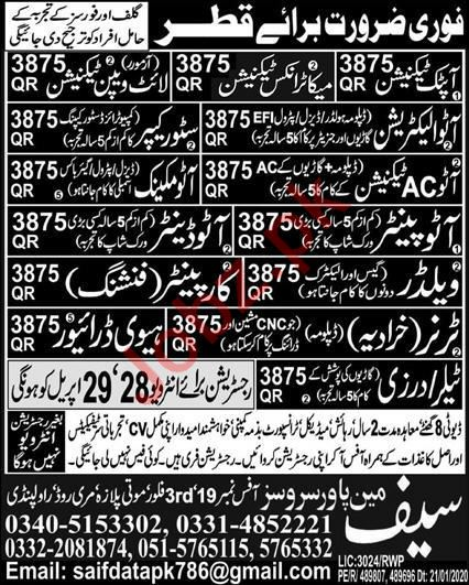 Auto Electrician & Store Keeper Jobs 2021 in Qatar