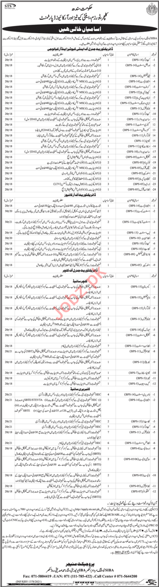Culture Tourism Antiquities & Archives Sindh Jobs 2021