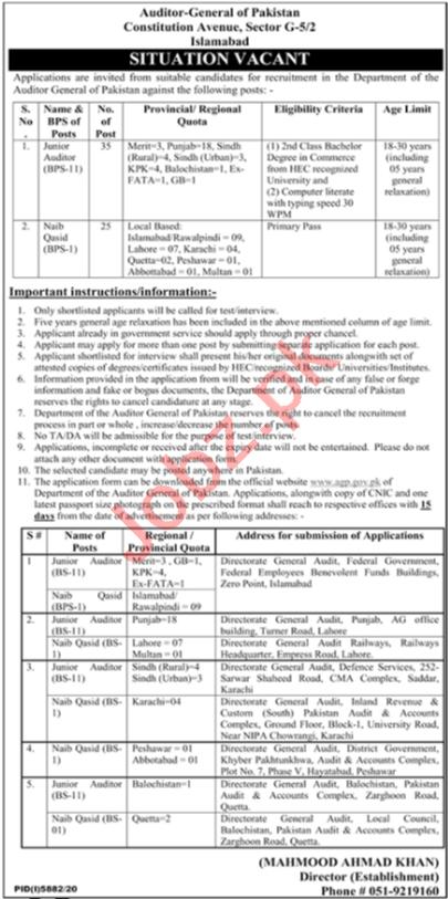 Auditor General of Pakistan Jobs 2021 Auditor & Naib Qasid