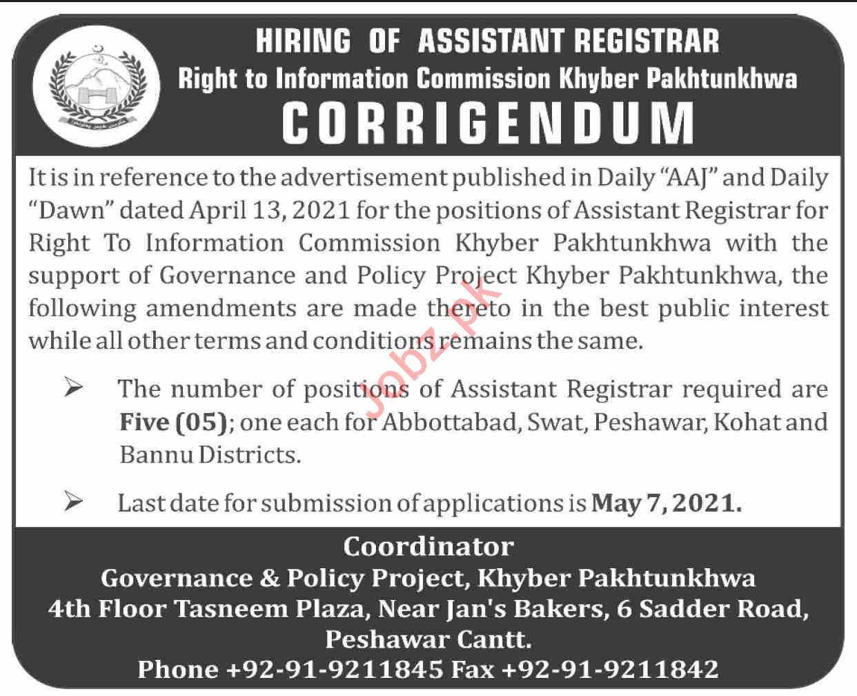 Right to Information Khyber Pakhtunkhwa KPRTI Jobs 2021