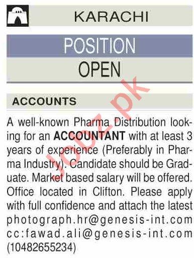 Genesis Pharmaceuticals Karachi Jobs 2021 for Accountant