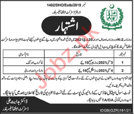 District Health Officer DHO Ghizer Jobs 2021 for Cook & Mali