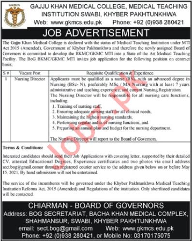 Gajju Khan Medical College GKMC MTI Swabi Jobs 2021