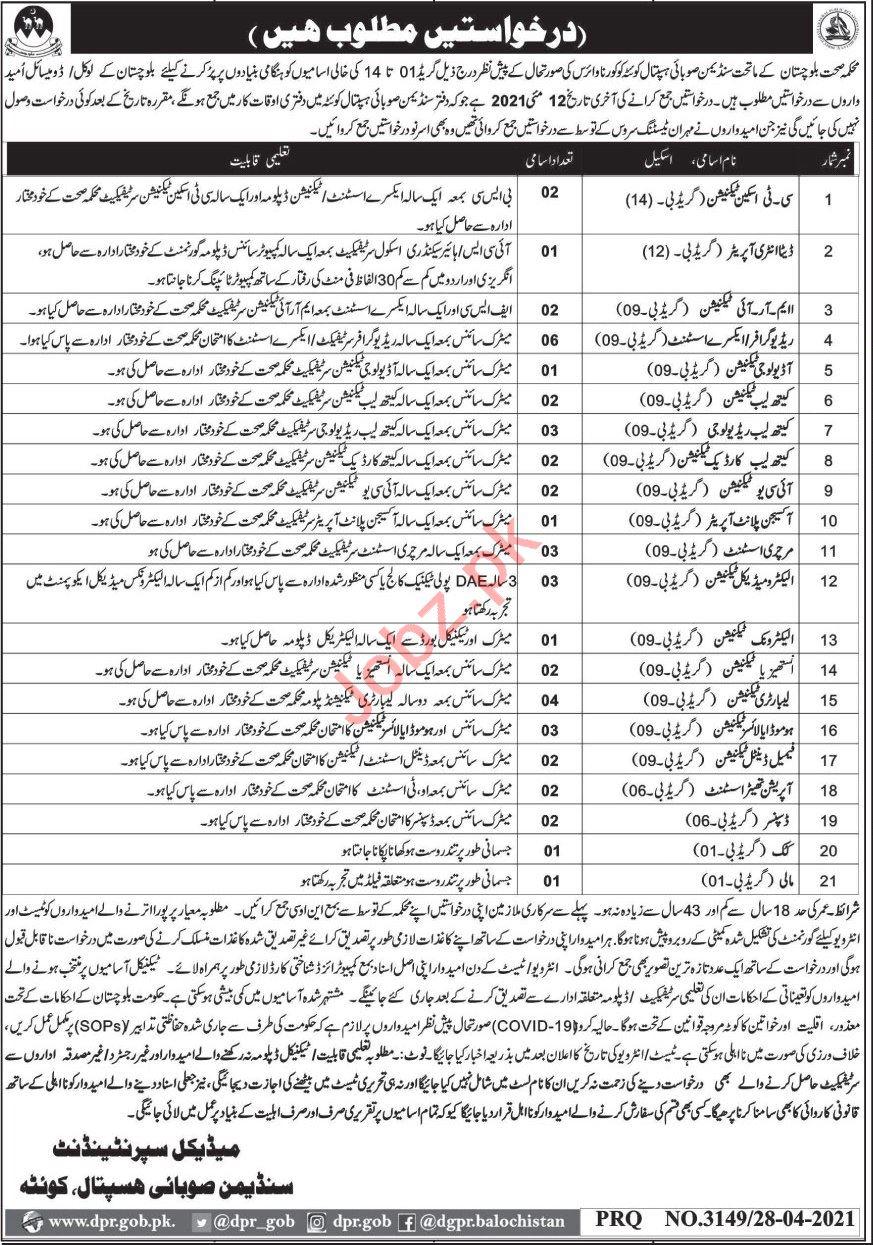 Technicians Jobs 2021 in Sandeman Provincial Hospital Quetta