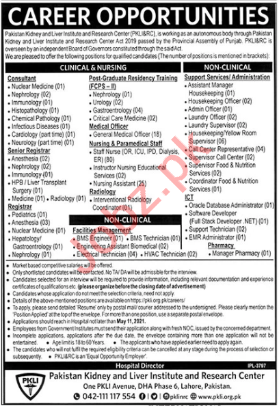 Pakistan Kidney and Liver Institute & Research Center Jobs