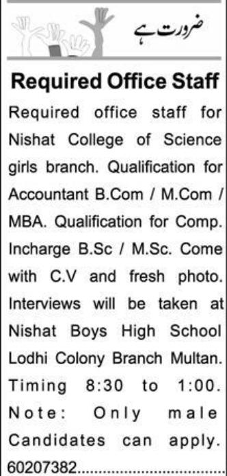 Nishat College of Science Jobs 2021 in Multan