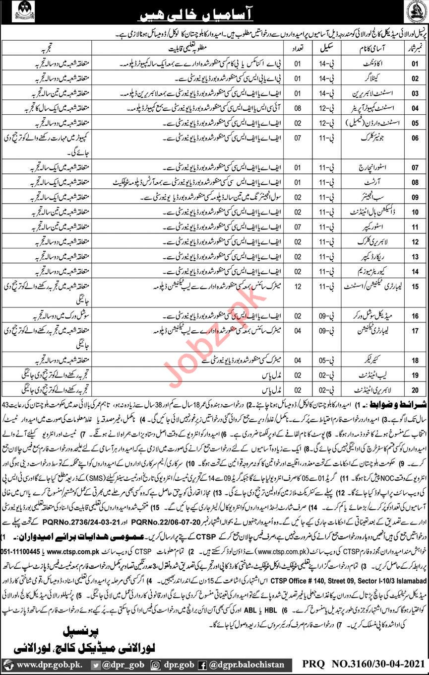 Loralai Medical College LMC Loralai Jobs 2021 for Clerks
