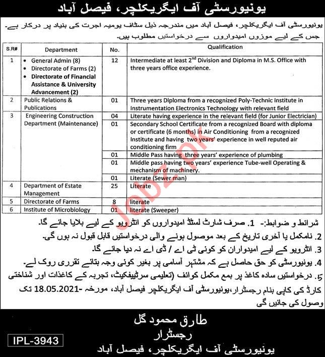 University of Agriculture Faisalabad Non Faculty Jobs 2021