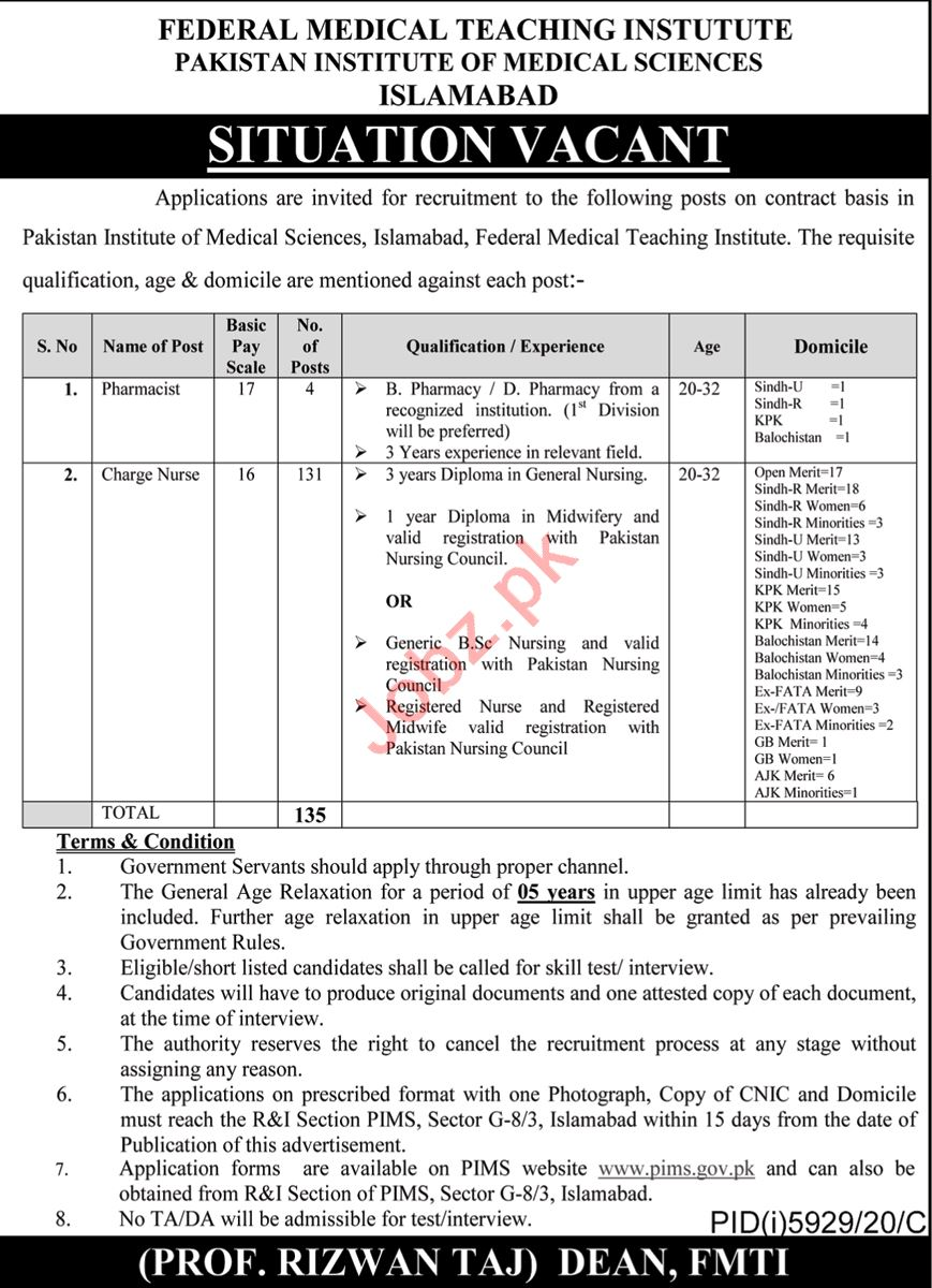 PIMS Pakistan Institute of Medical Sciences FMTI Jobs 2021