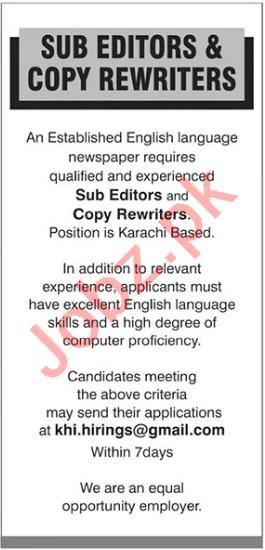 Copy Rewriters & Sub Editors Jobs 2021 in Karachi