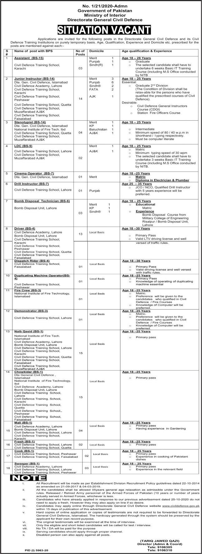 Directorate General Civil Defence Jobs 2021