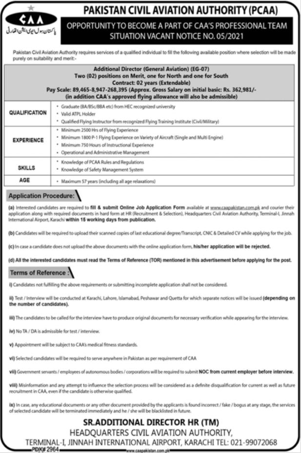 Pakistan Civil Aviation Authority PCAA Jobs 2021 in Karachi