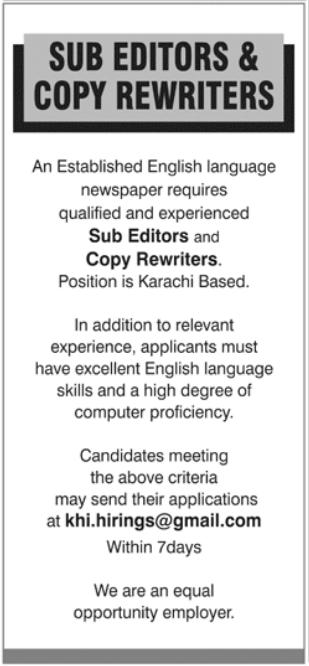 Sub Editors & Copy Rewriters Jobs 2021 in Karachi