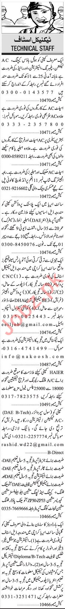 Jang Sunday Classified Ads 2 May 2021 for Technical Staff