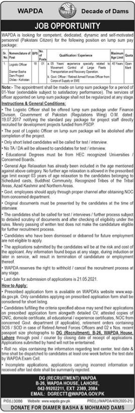 Pakistan Wapda Jobs 2021 in Chillas