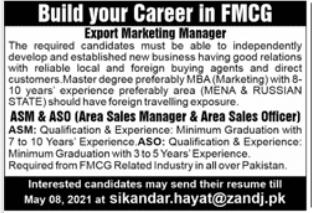 FMCG Company Jobs 2021 For Sales & Marketing Staff