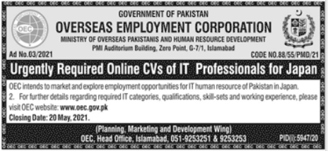 Overseas Employment Corporation Jobs For IT Experts
