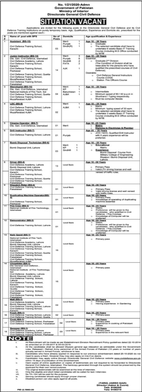 Directorate General Civil Defence Jobs For Management Staff