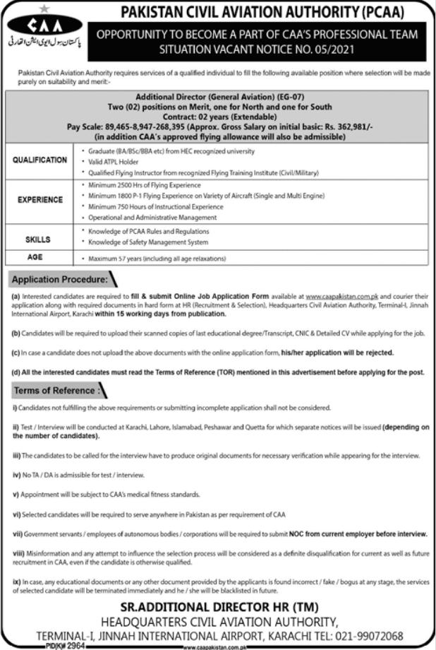 Additional Director General Aviation Job 2021 in Karachi