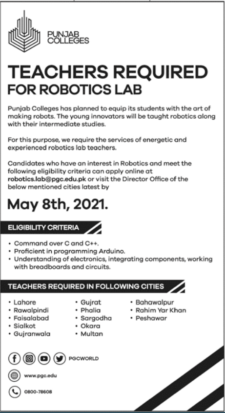 Punjab Colleges Jobs 2021 For Teaching Staff