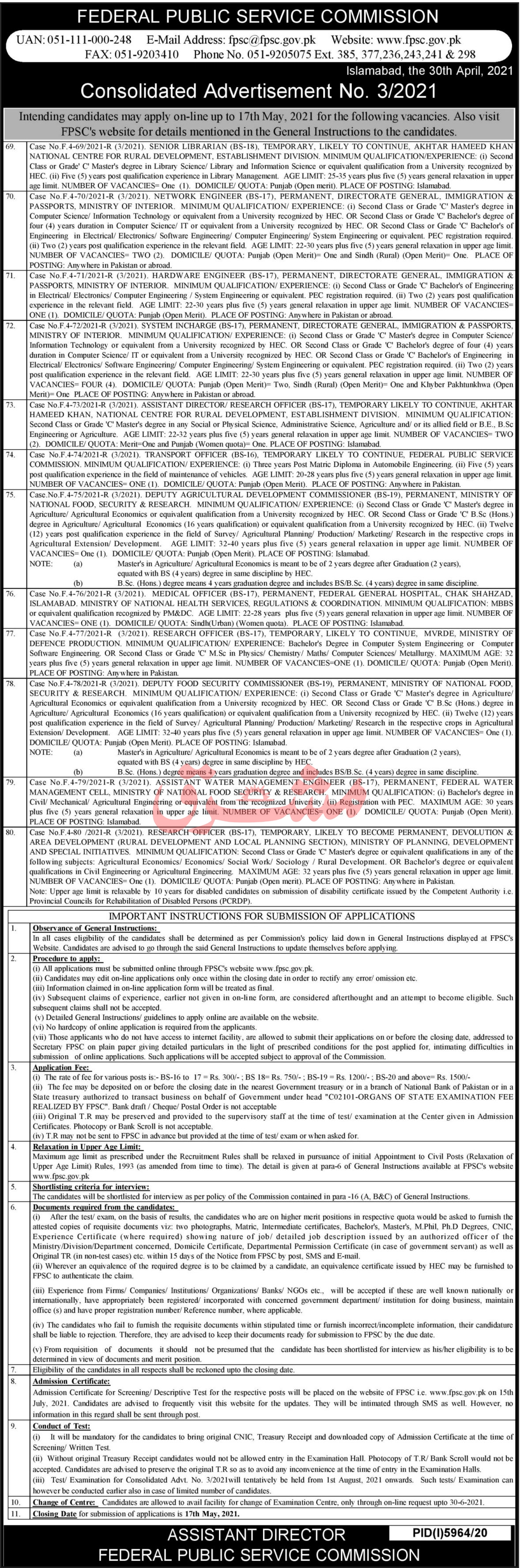 FPSC Consolidated Advertisement No 3 May Jobs 2021