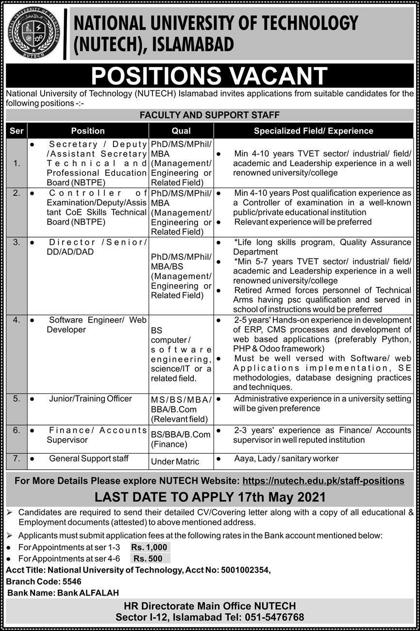 NUTECH University Islamabad Jobs 2021