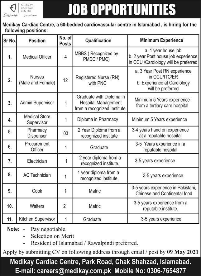 Medikay Cardiac Centre Jobs 2021 in Islamabad