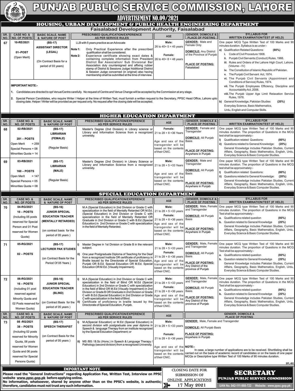 PPSC Lahore Jobs Advertisement No 9 2021