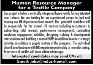 Human Resource Manager Job 2021 in Lahore