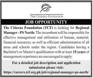 The Citizens Foundation TCF Job 2021 in Lahore