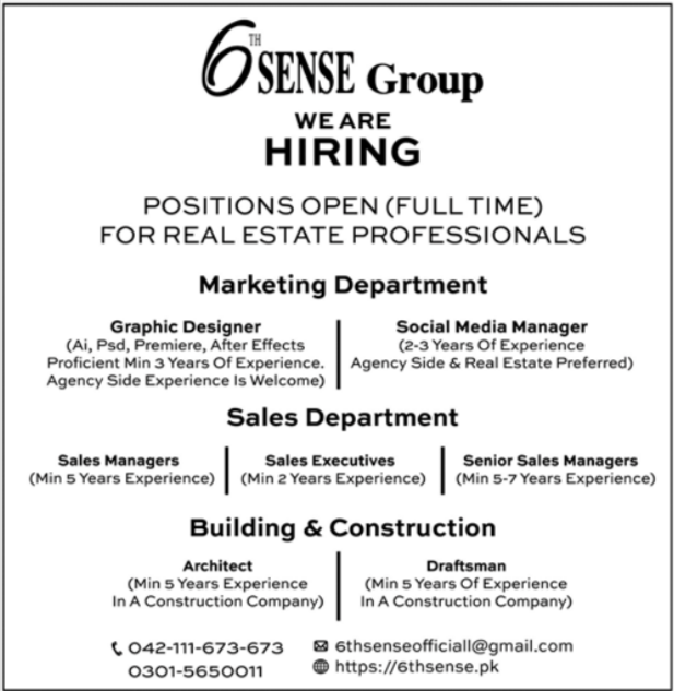6th Sense Group Jobs 2021 in Lahore