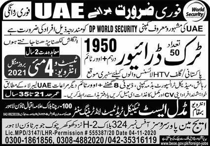 Truck Driver Jobs 2021 in UAE