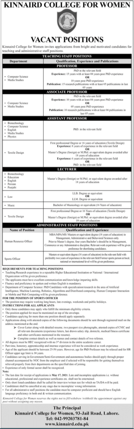 Kinnaird College for Women KCW Jobs 2021 in Lahore