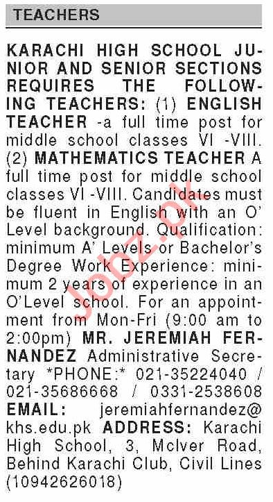 Dawn Sunday Classified Ads 2 May 2021 for Teaching Staff