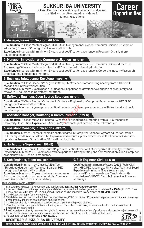 Sukkur IBA University Jobs 2021 for Manager & Asst Manager
