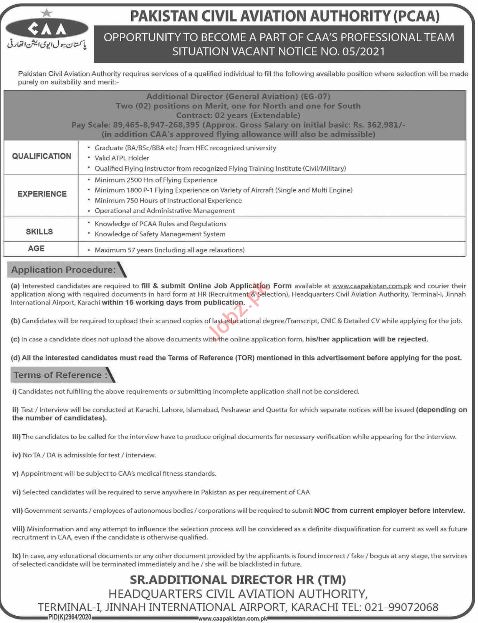 Pakistan Civil Aviation Authority PCCA Karachi Jobs 2021