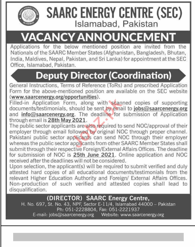 SAARC Energy Centre SEC Islamabad Jobs 2021 for Director