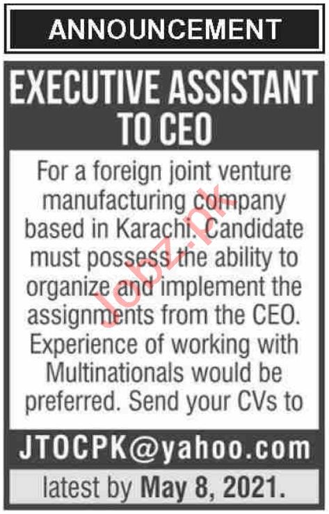 Executive Assistant & Assistant Jobs 2021 in Karachi