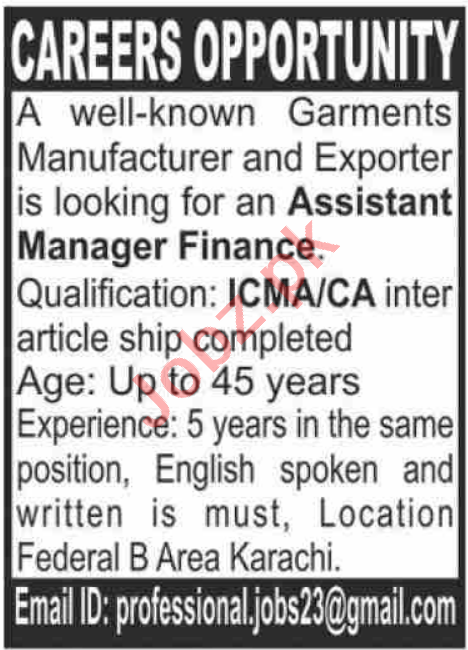 Assistant Manager & Assistant Manager Finance Jobs 2021