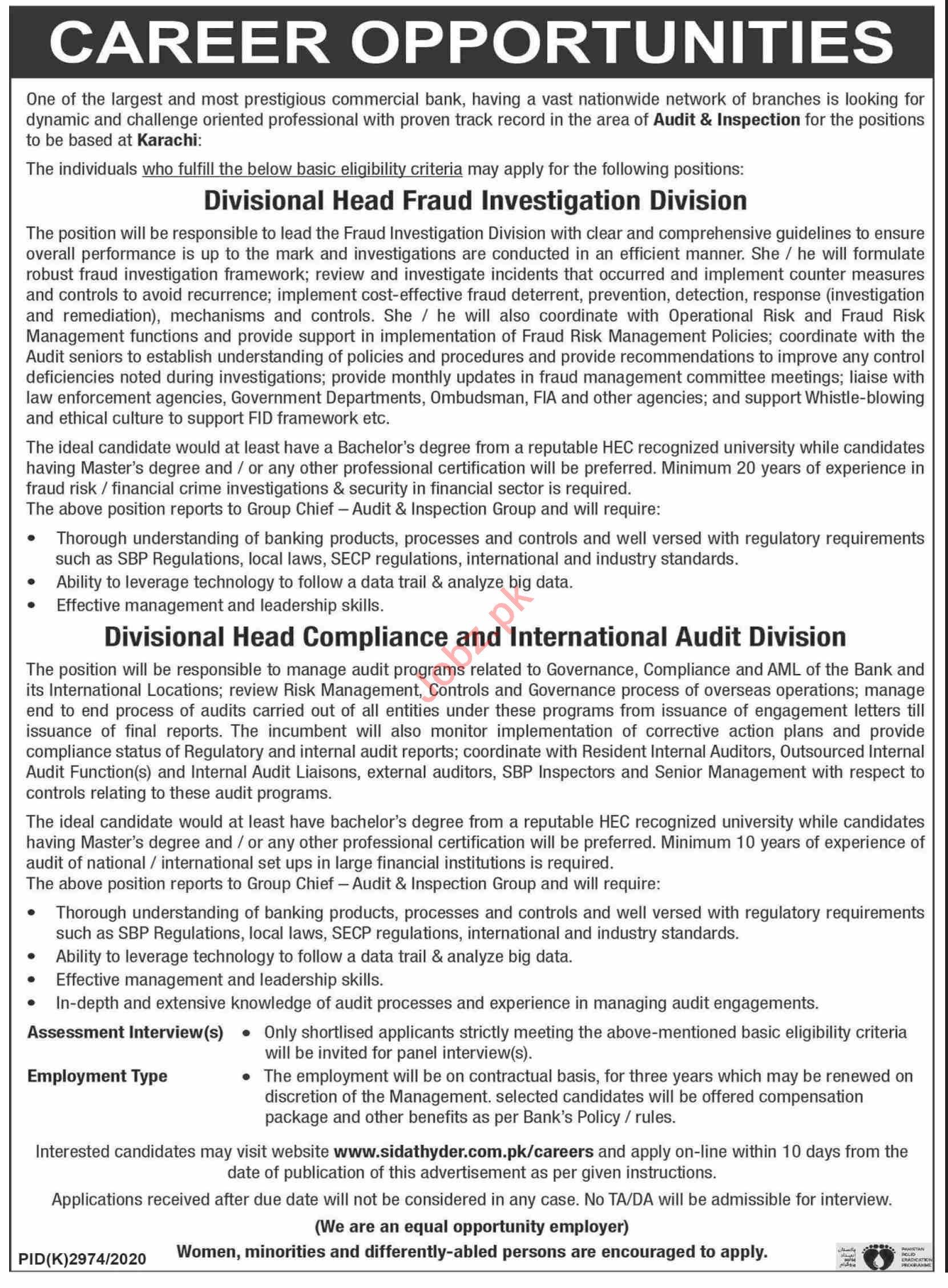 Divisional Head Fraud Investigation Division Jobs 2021
