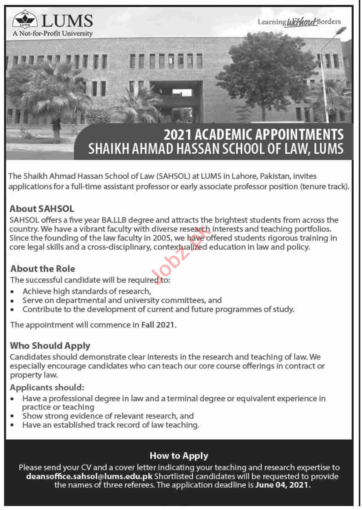 Shaikh Ahmad Hassan School of Law SAHSOL LUMS Jobs 2021