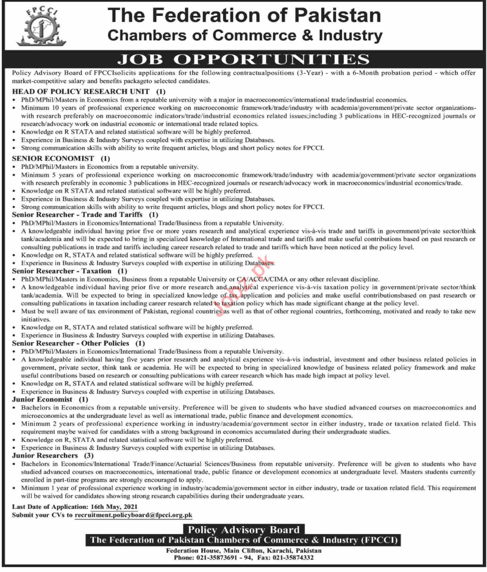 Federation of Pakistan Chambers of Commerce FPCCI Jobs 2021