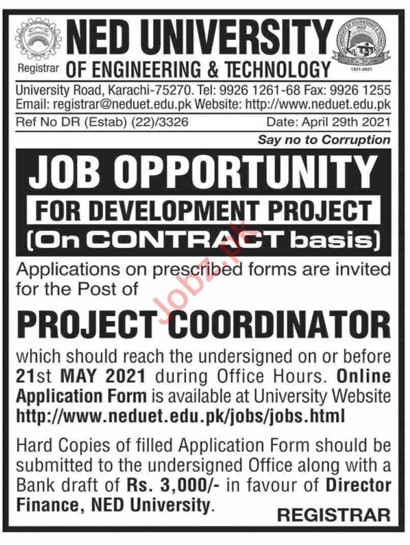 NED University of Engineering & Technology Karachi Jobs 2021
