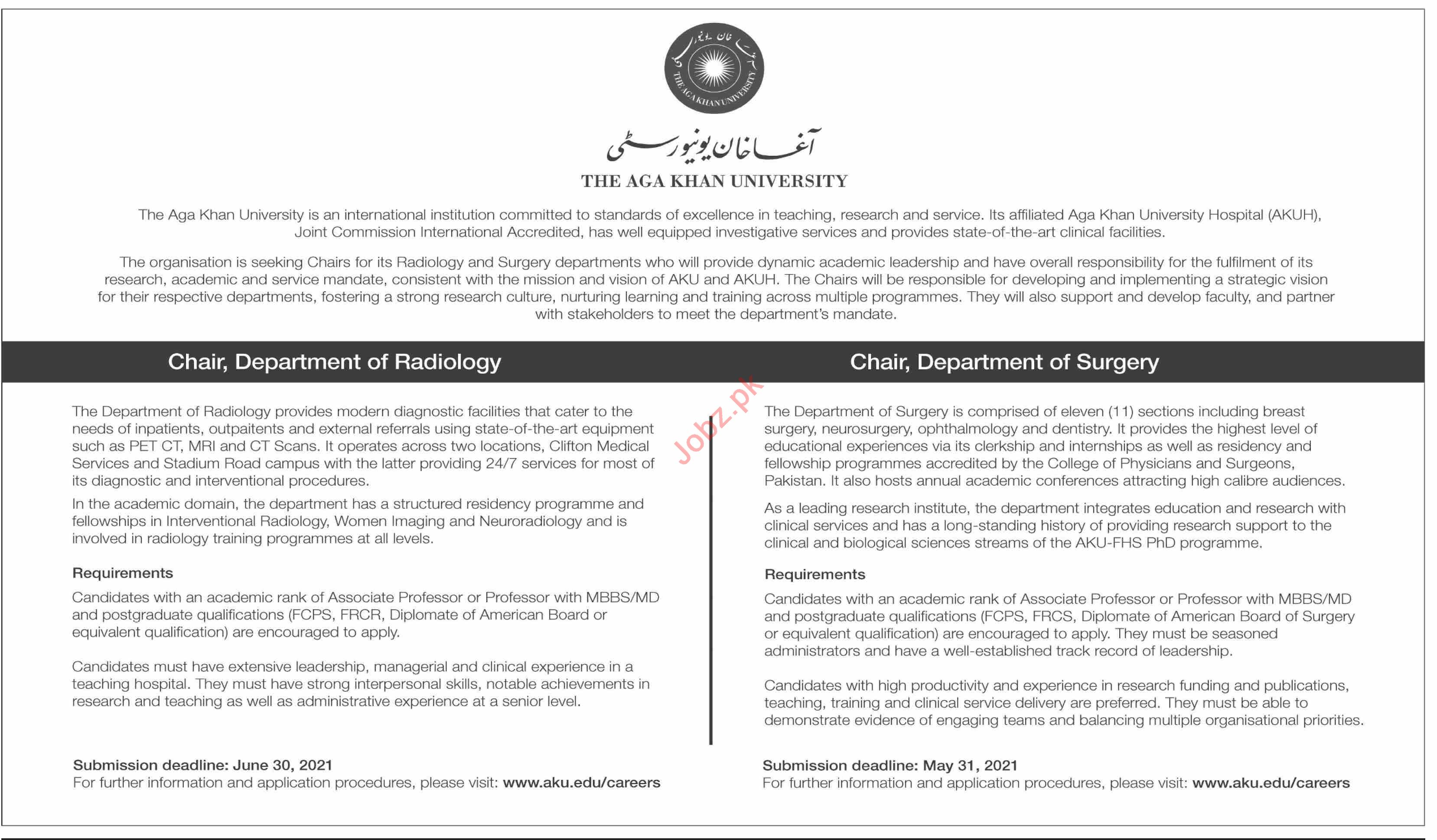 The Aga Khan University AKU Karachi Jobs 2021 for Chair