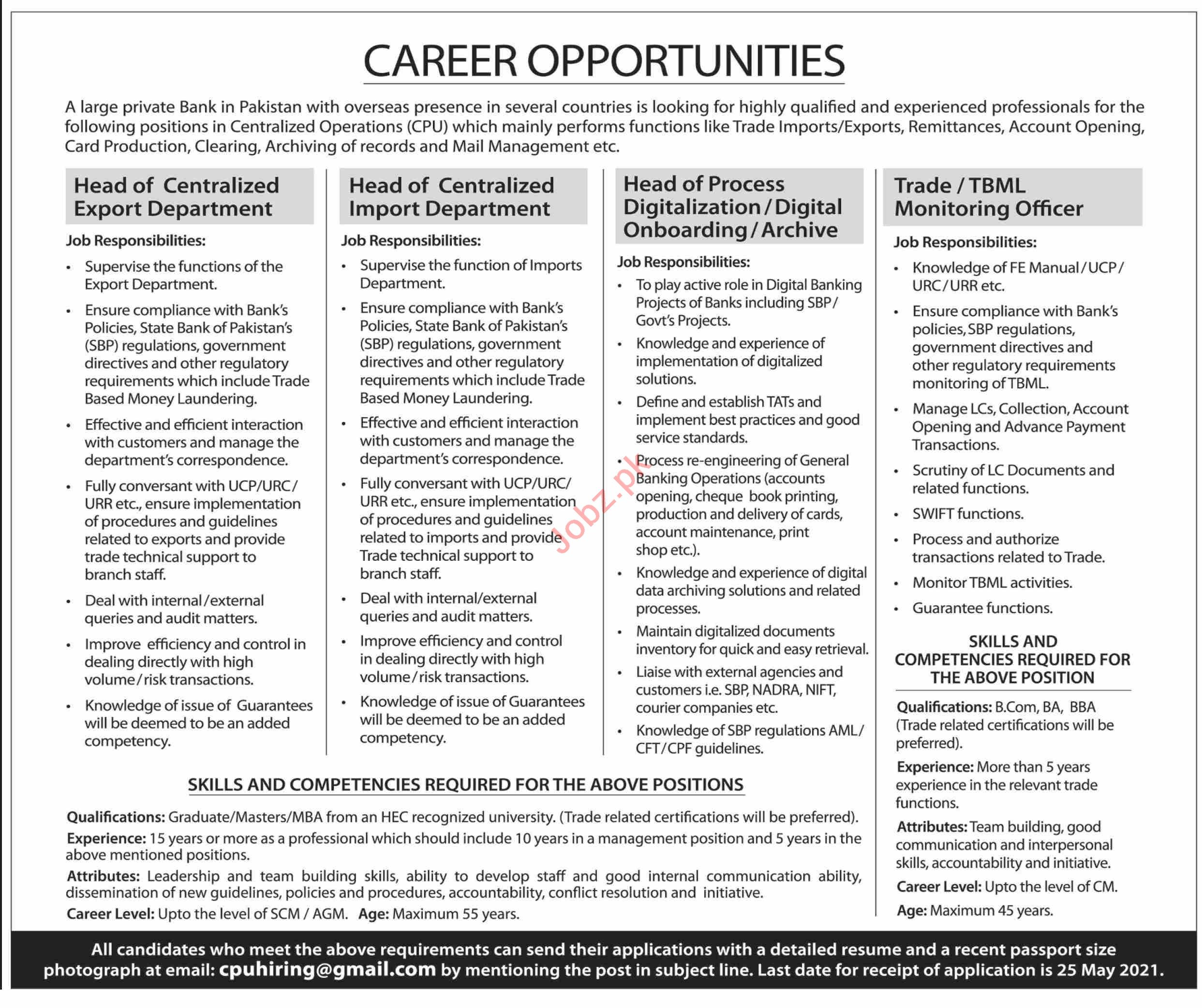 Head of Centralized Export & TBML Monitoring Officer Jobs
