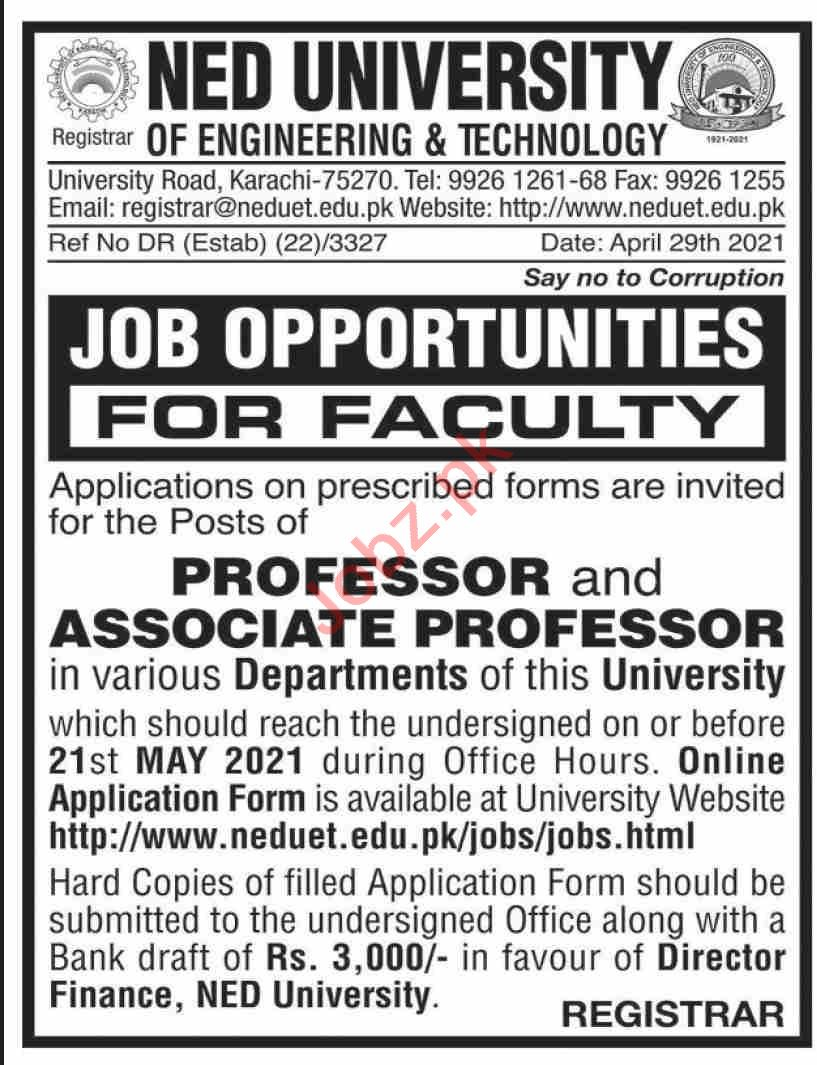 NED University of Engineering & Technology NEDUET Jobs 2021
