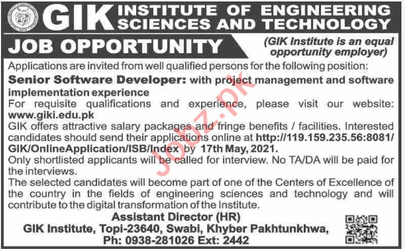 GIK Institute of Engineering Sciences & Technology Jobs 2021