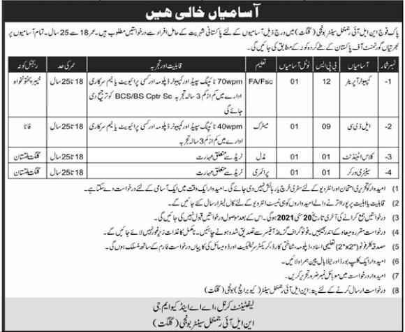Pakistan Army NLI Regimental Center Gilgit Jobs 2021