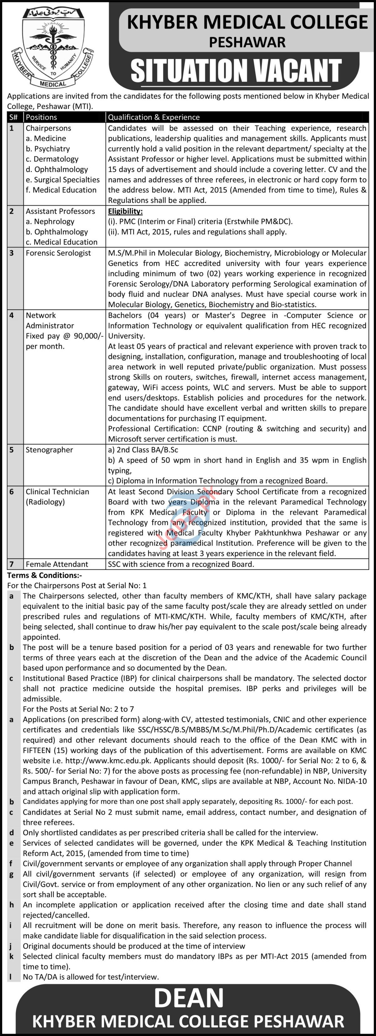 Khyber Medical College KMC Peshawar Jobs 2021 Chairperson